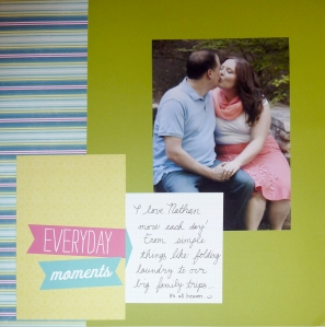 And here's a tried and true border: A fat strip of striped paper couples nicely with a few overlapping slide in cards!