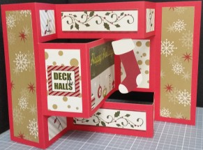 Inside of Deck the Halls card: A stocking hangs from the top