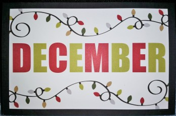 December slide-in card trimmed to 3.5x5.5 and attached to the front of a black card