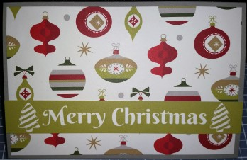 Ornament paper trimmed to 3.75x5.75 and attached to the front of a gray card; Merry Christmas cut from a slide-in card