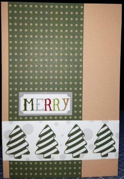 Green dot paper trimmed to 2.25x6, tree paper trimmed to 4x1.25 and attached to the front of a tan card; Merry sticker