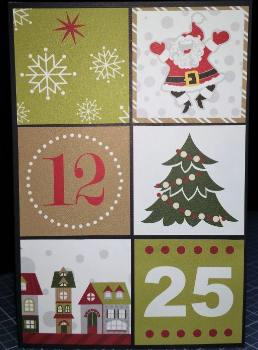 6 squares (1 15/16 inches each) attached to the front of a black card -- the Santa square was a little too small, so it's mounted on a square of the right size to fit the grid